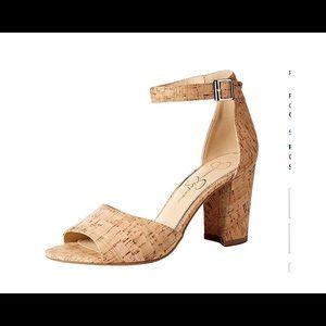 Jessica Simpson Cork Sheeron Heeled Sandal 6M